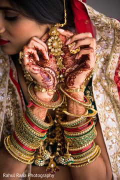 Indian wedding jewelry and mehndi details
