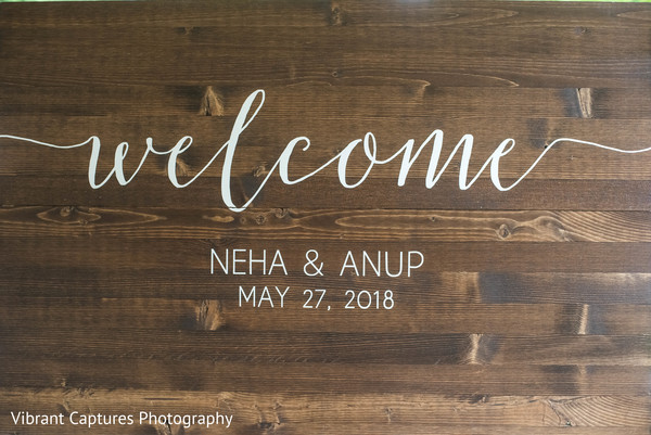 Magnificent Indian wedding welcome sign.