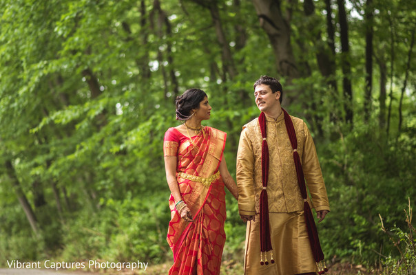 Lovely Indian bride and groom's first look scene.