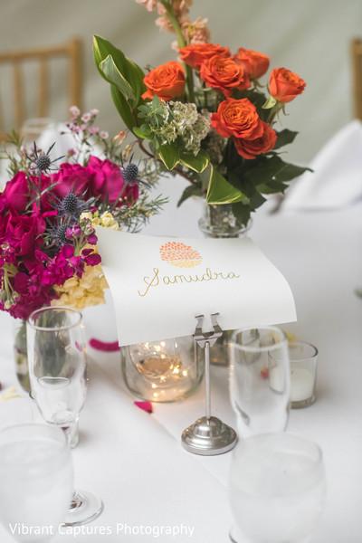 Dreamy Indian wedding reception table flower decoration.