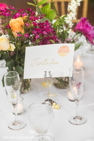 Dreamy indian wedding reception table name tag.
