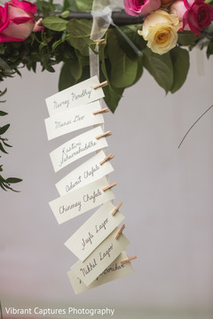 Indian wedding reception personalized name tags.