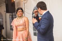 Emotional Indian wedding reception speech moment.