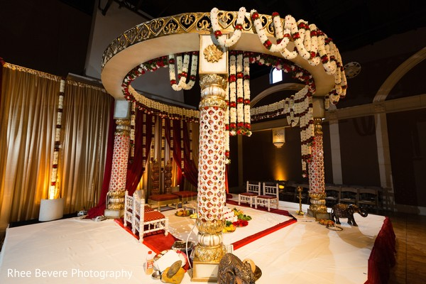 Indian wedding ceremony stage flowers decoration.