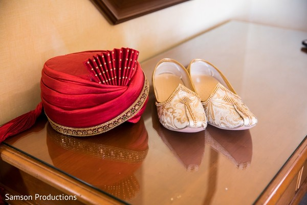 Pagri and shoes to be used by Indian groom