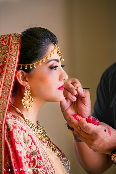 Makeup artist dolling up the maharani