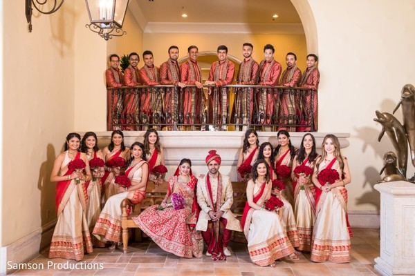 Stunning picture of Indian couple with bridesmaids and groomsmen