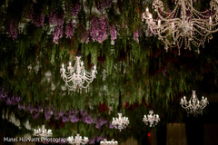 Magnificent Indian wedding flower and Hanging chandelier decor.
