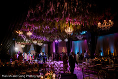 Magnificent Indian wedding flowers and lights decoration.