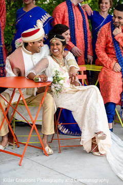 Indian newlyweds having a great time