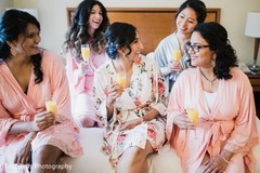Beautiful maharani getting ready with her bridesmaids