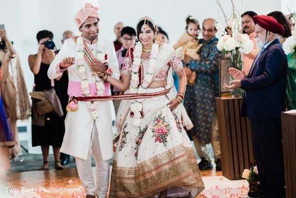 Joyful newlyweds after the ceremony