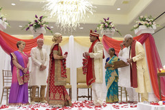 Indian bride and groom at their varmala ceremony ritual.