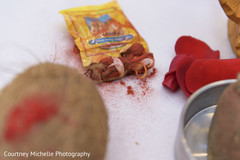 Indian wedding ceremony red powder.