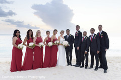 Most romantic Indian bride and groom with bridesmaids and groomsmen.