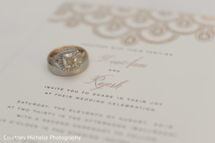 Dazzling indian wedding rings on  invitations.