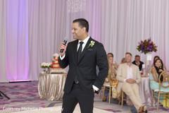 Lovely indian groom wedding speech scene.