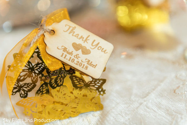Personalized Indian wedding favors.