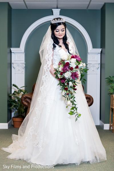 indian bride,white dress,bouquet,indian bridal tiara