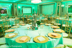Marvelous sangeet table and lights decor.