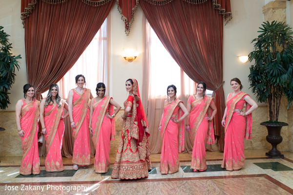 indian bride,bridesmaids,venue,indian wedding