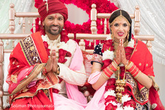 Indian bride and groom just married.