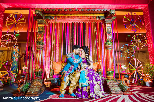 sangeet,indian pre-wedding fashion,indian bride and groom,sangeet decor