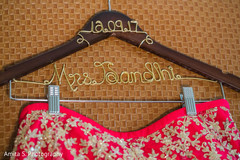 Personalized Indian bridal lehenga hanger.