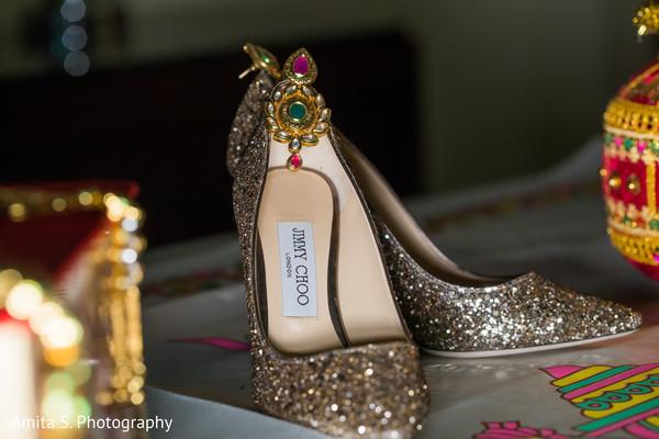 Glittered Indian brides wedding shoes capture.