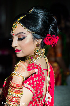 Lovely Indian bride with her jewelry on.