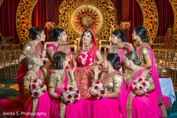 Cute indian bride with bridesmaids.