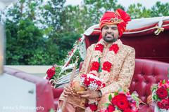 Indian groom on his Pulled rickshaw capture.