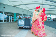Enchanting indian couple on their ceremony outfits.