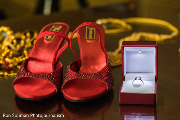 Stunning Indian wedding shoes and engagement ring.