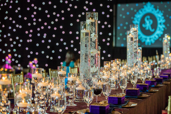 Indian wedding crystal  table  centerpiece.