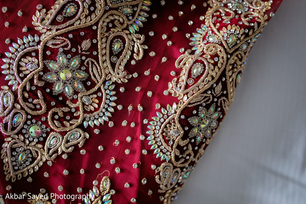 Stunning Indian bridal lengha closeup capture.