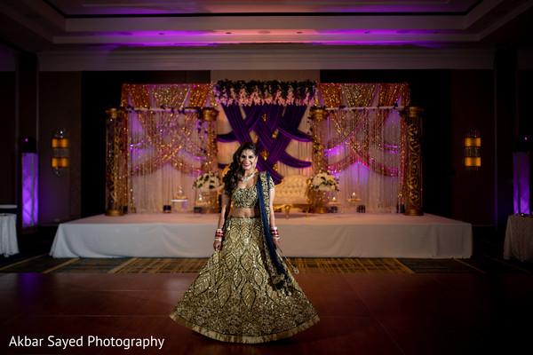 Enchanting Indian bride with her reception lehenga.