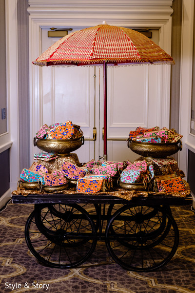 Fancy bindi favors for sangeet party celebration.