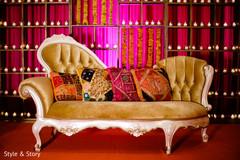 Sangeet stage decoration sofa.