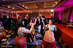 Indian bridesmaids during garba dance.
