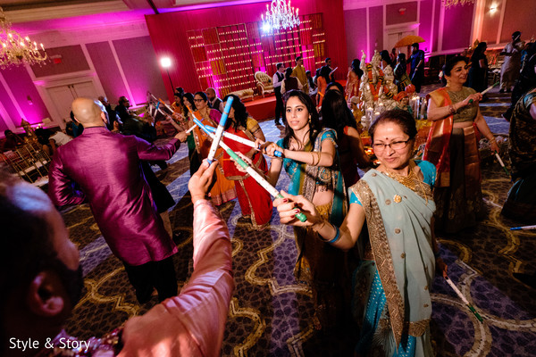 Indian wedding guests on their garba dance capture.