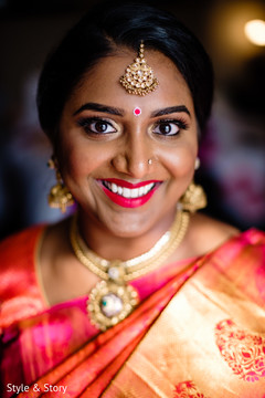 Joyful Indian bridesmaids ready for wedding.