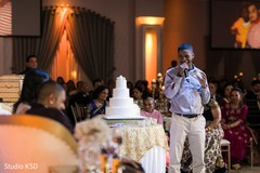 Guest delivering a speech for the newlyweds