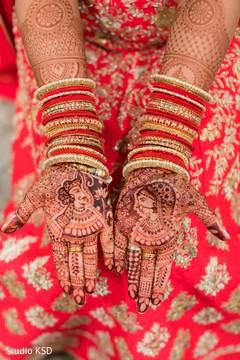 Mehndi design details of the Indian bride