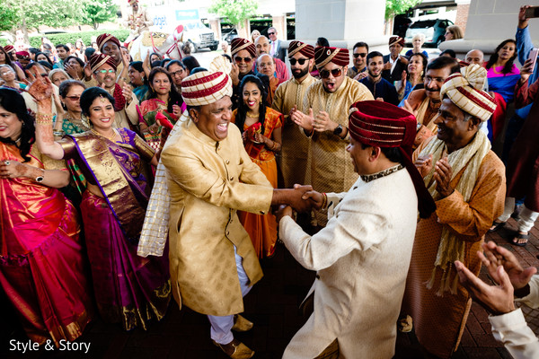 Unique Indian pre-wedding baraat dance.