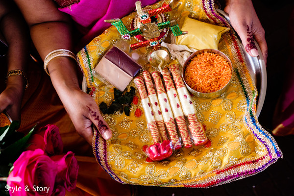 Colorful Indian baraat accessories for ritual.