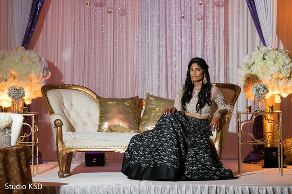 Stunning Indian bride at the reception venue