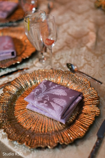 Details of the table design for the Indian wedding reception