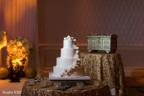 Indian wedding cake at the reception venue