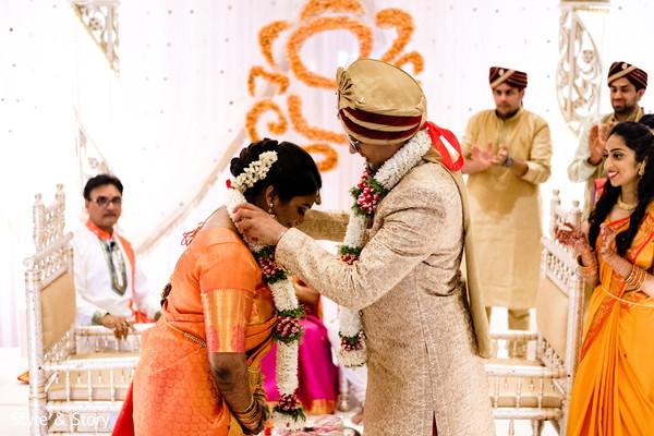 Maharani and raja during Varmala.